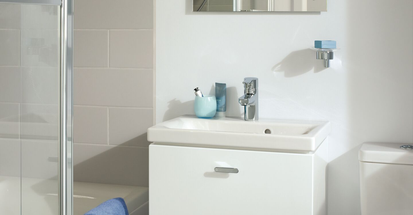 60cm lh wall hung basin unit, basin and tap