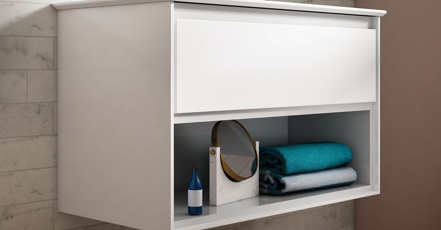 80cm wall hung unit, basin and tap
