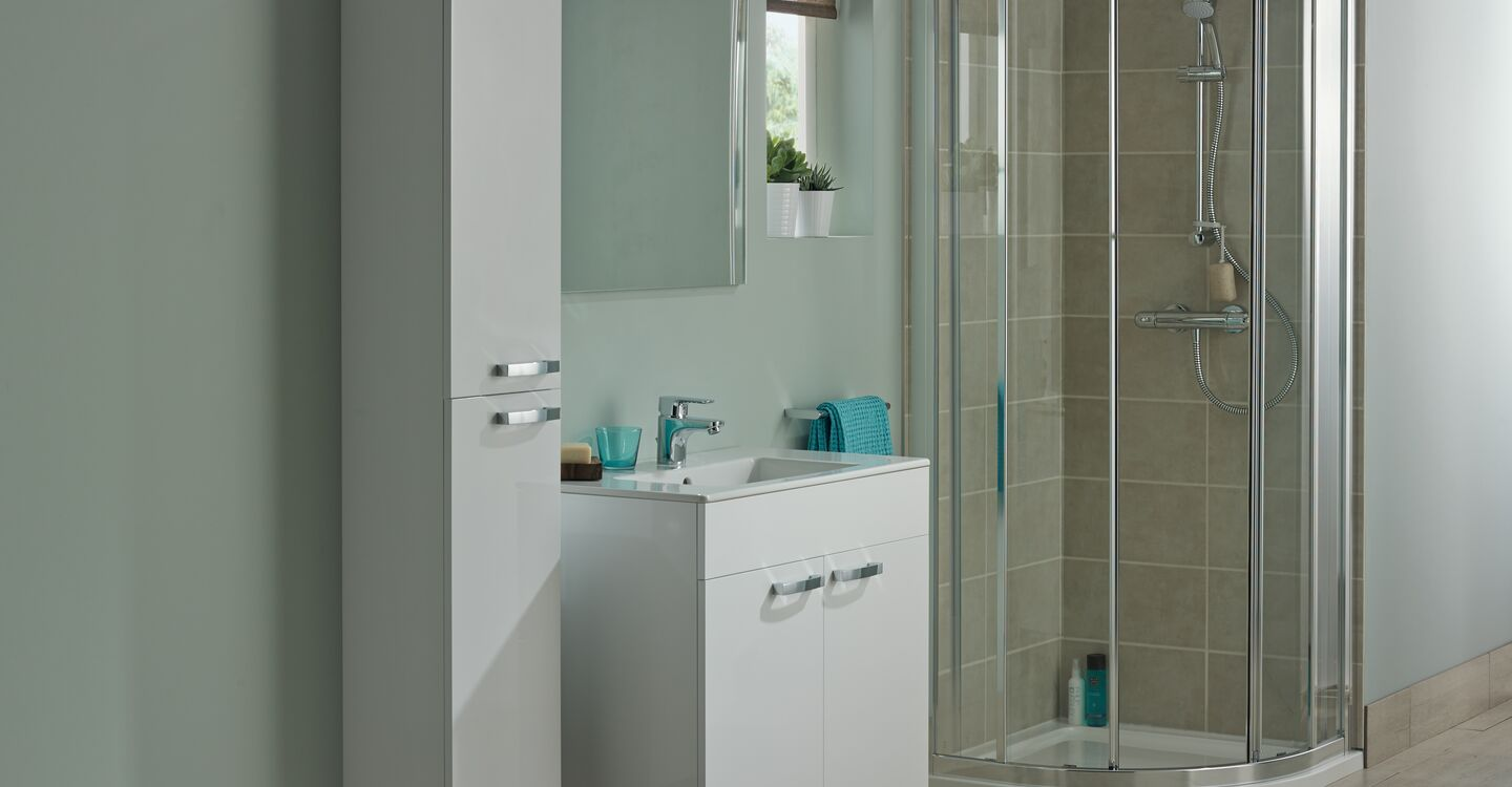 Wall hung 800mm vanity unit with 2 drawers