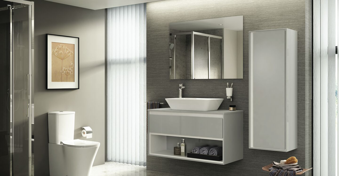 100cm wall hung unit, basin and tap